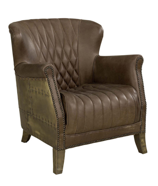 Artwood Cooper Armchair, Old Brass/Chocolate