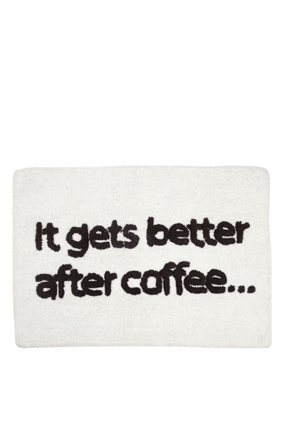 AU Maison Badematte 'It gets better after coffee', Off White/Black, 50x70