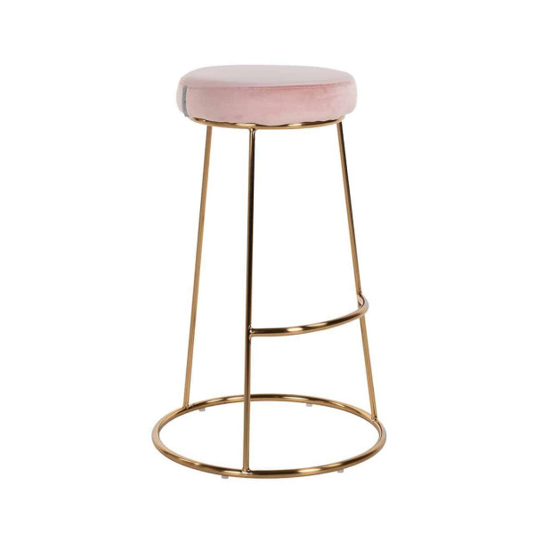Barhocker Brandy, Samt, Pink/Gold